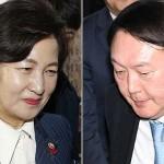 この1年対立が続いた秋美愛法相(左)と尹錫悦検事総長(韓国紙セゲイルボ提供)