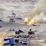 西サハラのモーリタニア境界付近で、炎上しているポリサリオ戦線のテント=11月13日にモロッコ軍がフェイスブックで公開(AFP時事)