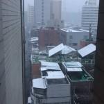 朝から降った雪でほんのりと雪化粧したソウル(13日)