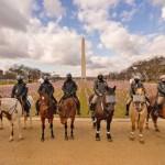 式典会場の連邦議会前に広がるワシントン・モニュメント広場は観衆の代わりに小旗で覆われ、騎乗警官が人の立ち入りを監視した