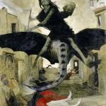 アーノルド・ベクリン画「ペスト」1898年作(ウィキぺディアから)