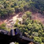 熱帯雨林で押収された違法伐採の木材(ブラジル連邦警察)