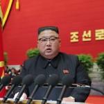 12日、平壌で開かれた北朝鮮の第8回朝鮮労働党大会で閉会の辞を述べる金正恩総書記(朝鮮通信・時事)
