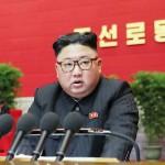 7日、平壌で開かれた朝鮮労働党大会で発言する北朝鮮の金正恩党委員長=8日に朝鮮中央通信提供(AFP時事)