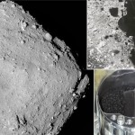 はやぶさ2が撮像した小惑星リュウグウの姿、タッチダウンの様子、そしてカプセル内で発見された試料(JAXA提供画像の合成)