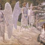 「楽園を追放されるアダムとエバ」フランスの画家ジェームズ・ティソの画(ウィキぺディアから)