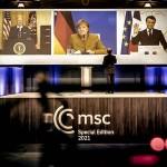 MSCオンライン会合、バイデン米大統領(左)、メルケル独首相(中央)、マクロン仏大統領(右)=MSC公式サイトから