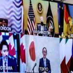 先進7カ国(G7)首脳のテレビ会議=19日(AFP時事)