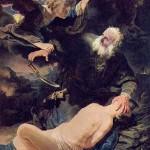 レンブラントの1634年の作「アブラハムとイサク」(ウィキぺディアから)