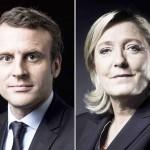 フランスのマクロン大統領(写真左)と極右政党「国民連合(RN)」のマリーヌ・ルペン党首(AFP時事)
