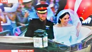 ヘンリー王子とメーガン妃の結婚式(2018年5月19日、英BBC放送の中継から)