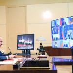 ロシア連邦安全保障理事会にビデオ参加するロシアのプーチン大統領(ロシア大統領府公式サイトから、3月26日)