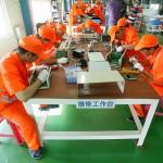 2011年、中国河北省保定市のソーラーパネル工場内(UPI)