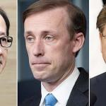 左から北村滋国家安全保障局長、サリバン米大統領補佐官、韓国の徐薫国家安保室長(AFP時事)
