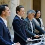 封鎖解除計画を表明するクルツ首相(左から2番目)(2021年4月23日、連邦首相府公式サイトから)