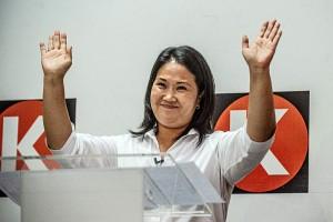 ペルー大統領選の決選投票に進んだケイコ・フジモリ氏=14日、リマ(AFP時事)