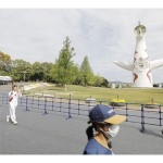 大阪、万博記念公園で五輪聖火リレーが開始
