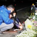 旧阿蘇大橋崩落で犠牲、大学生遺族が冥福を祈る