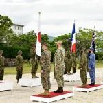 日米豪仏による共同訓練の開始式=11日午後、長崎県佐世保市の相浦駐屯地(陸上自衛隊提供)