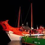 復元された遣唐使船を使って長崎市ならではのリレーも行われた。