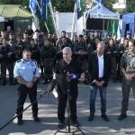 ロードの警察本部で現状への評価について語るネタニヤフ首相(イスラエル政府公式サイトから、2021年5月13日)