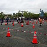 長崎市の平和公園でも無観客で寂しいリレー出発となった