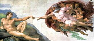 ミケランジェロの作品「アダムの創造」(ウィキぺディアから)