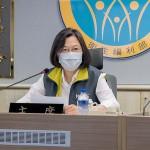 中央感染症指揮センターを訪れ関係者を激励する蔡英文総統=台湾総統府HPから