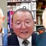 30日、「国際平和言論人協会」(IMAP)のウェブセミナーで講演する(左から)ルトフィ・ダルビシュ氏、宮塚利雄氏、ハンフリー・ホークスリー氏