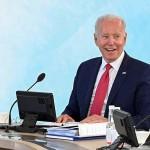 先進7カ国首脳会議(G7サミット)に臨むバイデン米大統領=12日、英国・コーンウォール(AFP時事)