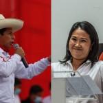 ペルー大統領選の決選投票に進んだケイコ・フジモリ氏(右、4月14日)とペドロ・カスティジョ氏(5月18日)=リマ(AFP時事)