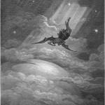 ギュスターヴ・ドレによるジョン・ミルトンの「失楽園」の挿絵、「地球へ向かうサタンを描いている」(ウィキぺディアから)
