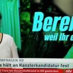 連邦議会選に臨む「緑の党」のベアボック党首(2021年6月11日、ドイツ民間ニュース専門局NTV放送から)