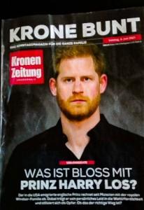 ヘンリー王子の近況を報じたオーストリア日刊紙クローネン日曜版表紙(2021年6月6日から)