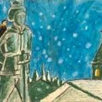 義兄が描いた紙芝居「幸福な王子」の1枚