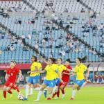 有観客で行われたサッカー女子1次リーグの中国―ブラジル戦=21日、宮城スタジアム