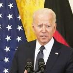 15日、ワシントンで記者会見するバイデン米大統領(UPI)