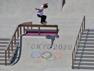 スケートボード男子ストリートで金メダルを獲得したト堀米雄斗選手