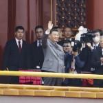 7月1日、北京の天安門広場で開催された中国共産党創立100年記念式典に出席した習近平国家主席(前列中央)と胡錦濤・前国家主席(同右)、李克強首相(同左)(EPA時事)