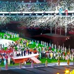 東京夏季五輪大会の閉会式(2021年8月8日、オーストリア国営放送の中継から)