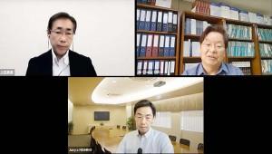 オンラインセミナーに出席した陳昌洙・世宗研究所日本研究センター長(右上)と慶応義塾大学の西野純也教授(下)、司会の上田勇実本紙ソウル特派員(左上)=2日、動画配信サイトユーチューブで