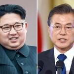 北朝鮮の金正恩総書記(写真左)と韓国の文在寅大統領(AFP時事)