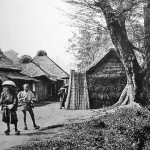 事件当時の生麦村。東海道にそった集落の神奈川宿寄りのはずれ、リチャードソン遺体発見現場(落馬地点)近辺と見られている