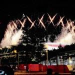 パラリンピック開会式での花火の演出 =24日午後、東京都新宿区
