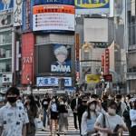 4月、東京・渋谷のスクランブル交差点の様子(UPI)