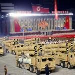 2020年10月10日、朝鮮労働党創建75周年を迎えて行われた軍事パレード (KCNA/UPI)