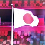 東京五輪大会の開会式ではためく日本の国旗(2021年7月23日、オーストリア国営テレビ放送の中継から)