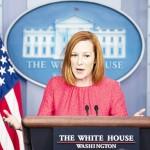 16日、米ホワイトハウスで記者会見するサキ大統領報道官(UPI)