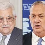 パレスチナ自治政府のアッバス議長(左)とイスラエルのガンツ国防相(AFP時事)