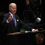 第76回国連総会で講演するバイデン米大統領(9月22日ニューヨーク:UPI)